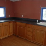 Our kitchen...  yes, the window trim was blue and the walls salmon pink.